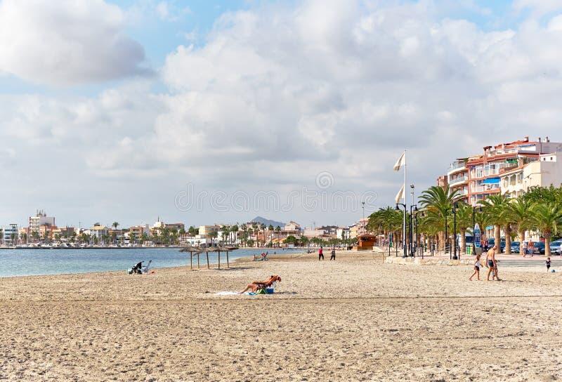 San Pedro del Pinatar beach. Spain. San Pedro del Pinatar, Spain - November 23, 2017: San Pedro del Pinatar beach, touristic heart of the Costa Calida. Spain royalty free stock image