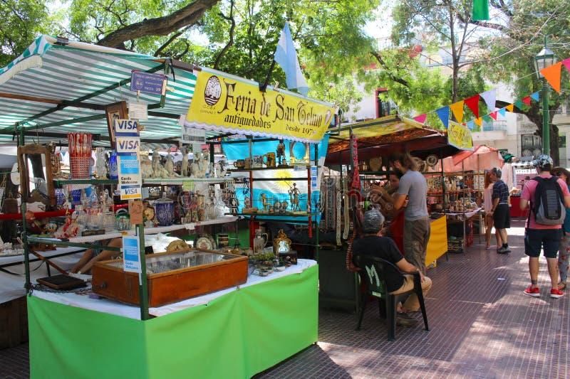 San Pedro Telmo Fair in Buenos Aires, Argentina. Buenos Aires, Argentina - 2018-02-04 : Feria De San Pedro Telmo, or the San Telmo fair a or market held on royalty free stock photo