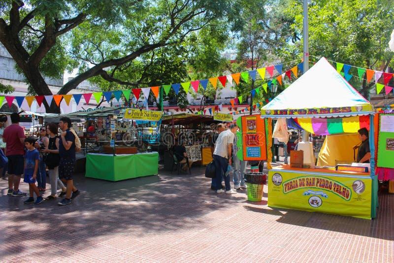 San Pedro Telmo Fair in Buenos Aires, Argentina. Buenos Aires, Argentina - 2018-02-04 : Feria De San Pedro Telmo, or the San Telmo fair a or market held on stock images