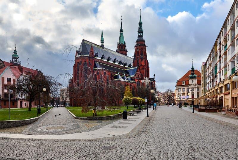 San Pedro y santo Paul Cathedral en la ciudad de Legnica foto de archivo libre de regalías