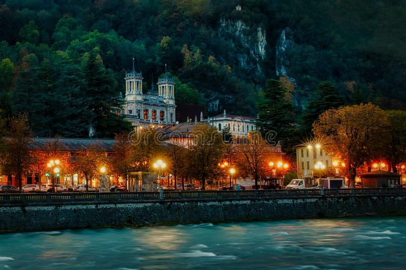 San Pellegrino Spas in the evening with lights on the boulevard and the Casino.  royalty free stock images
