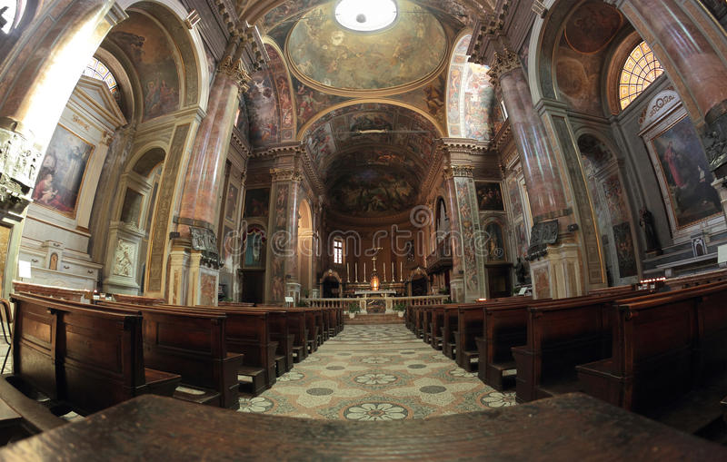 San Pietro al Rosario Church i Novara, Italien arkivbild