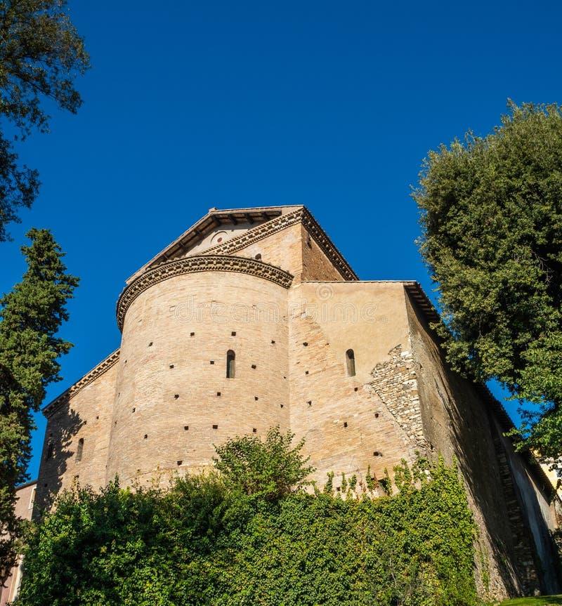 San Pietro alla Carita from the garden at Villa D`Este in Tivoli, Italy.  stock photos