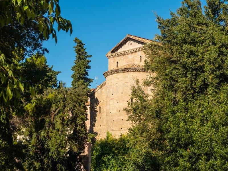 San Pietro alla Carita from the garden at Villa D`Este in Tivoli, Italy.  royalty free stock images