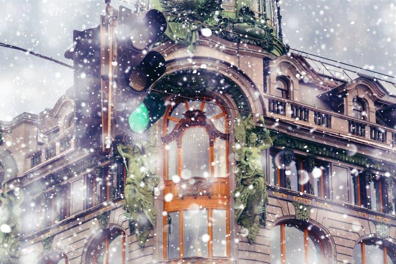San Pietroburgo all'inverno Cantante House House dei libri sulla prospettiva di Nevsky fotografie stock