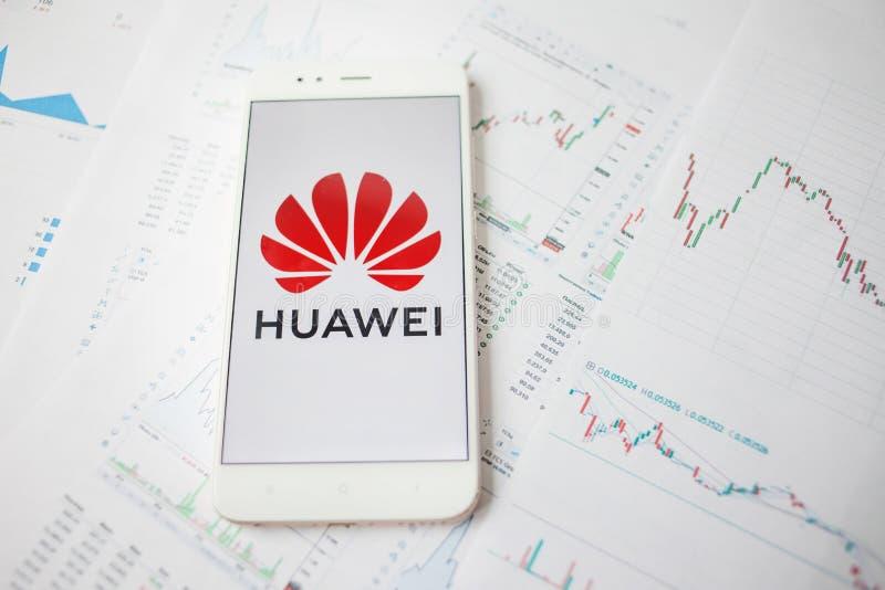 SAN PIETROBURGO, RUSSIA - 27 MAGGIO 2019: Analisi dei dati di sicurezze di Huawei, concetto fotografia stock