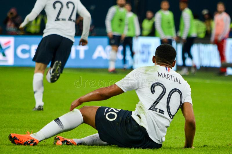 SAN PIETROBURGO, RUSSIA - 27 marzo 2018: Durin di Anthony Martial immagine stock