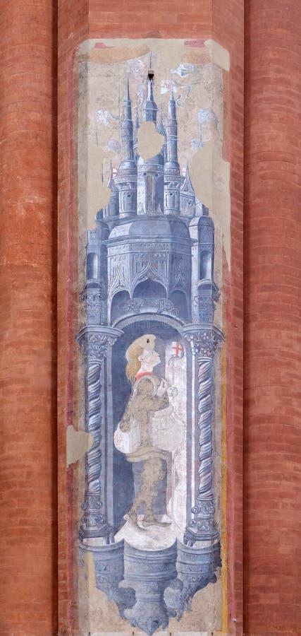 San, pittura dell'affresco in San Petronio Basilica a Bologna fotografia stock libera da diritti