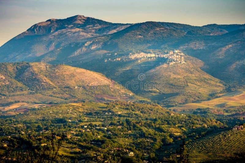 San Polo de Cavalieri and Gennaro Peak from Prenestini. Mountainds near San Gregorio da Sassolo royalty free stock photography