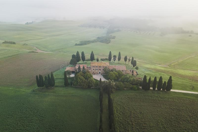 Aerial view of Borborini Maria Eva in Tuscany. San Quirico D`orcia, Italy - May 11, 2018: Aerial view of Borborini Maria Eva - one of the most famous places in stock image