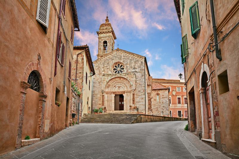 San Quirico d`Orcia, Siena, Tuscany, Italy: the medieval church Collegiata 12th century royalty free stock photo