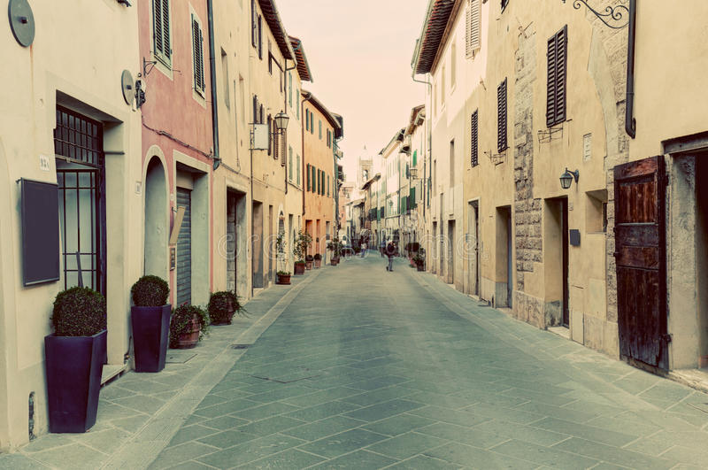 San Quirico d'Orcia small town, municipality in Tuscany, Italy. Vintage Italian, tuscan street stock photos