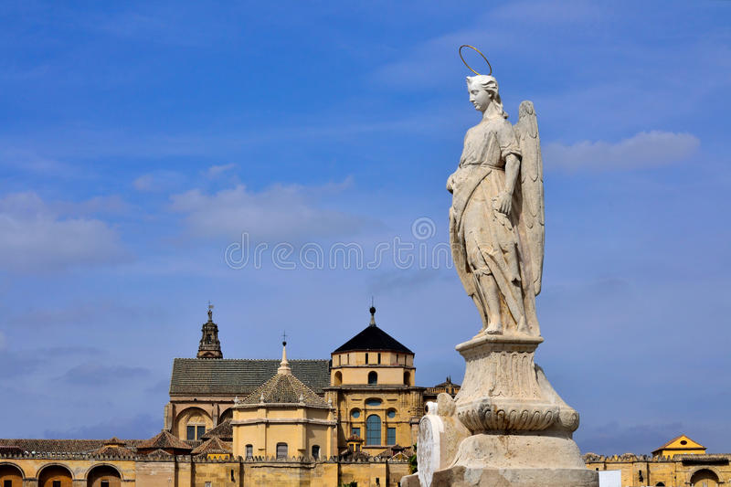 San Rafael Archangel Statue at Andalusia, Spain. stock photo