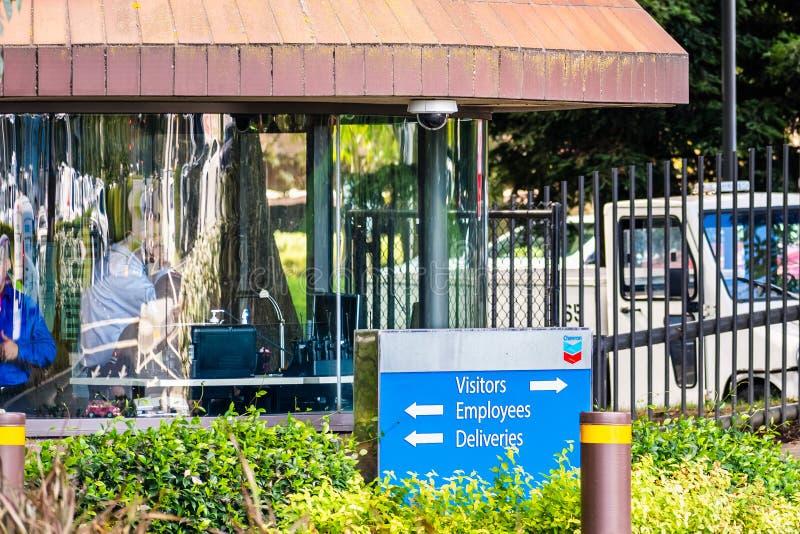25.09.2019 San Ramon / CA / USA - Eintritt in Chevron Firmensitz in der Bucht von San Francisco; Chevron Corporation lizenzfreie stockfotografie