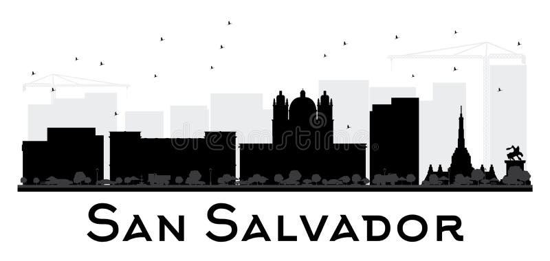 San Salvador miasta linii horyzontu czarny i biały sylwetka ilustracja wektor