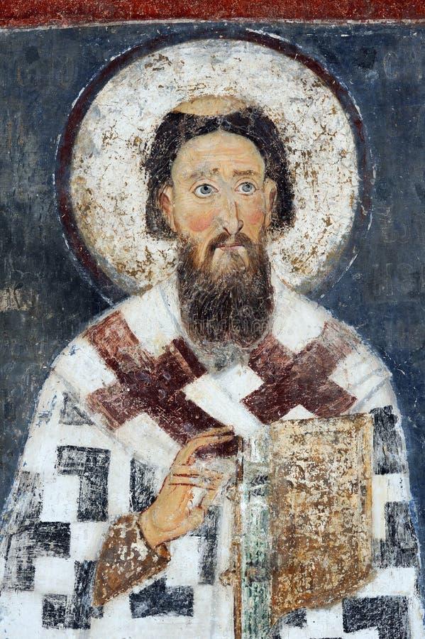 San Sava, affresco dal monastero Mileseva immagini stock libere da diritti