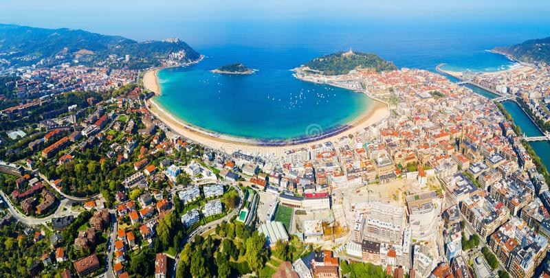 San Sebastian aerial panoramic view royalty free stock photos