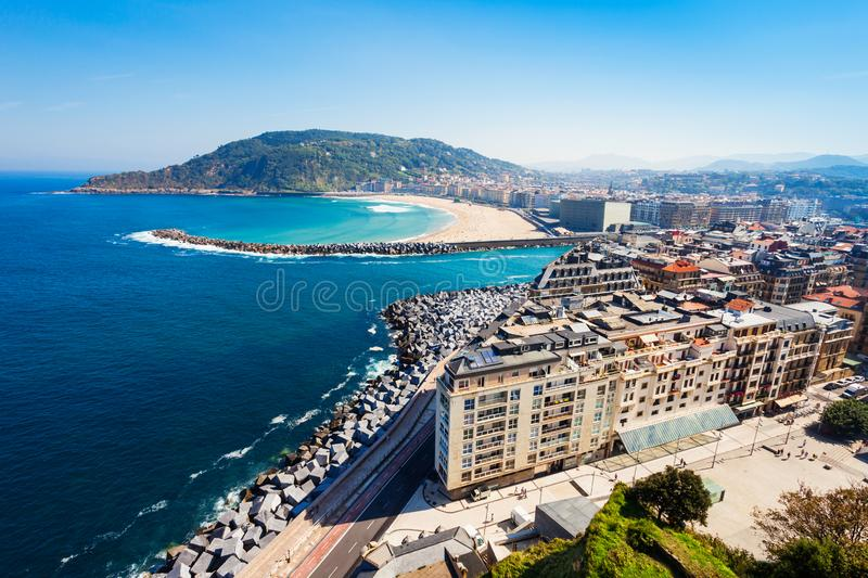 San Sebastian aerial panoramic view. San Sebastian or Donostia aerial panoramic view. San Sebastian is a coastal city in the Basque country in Spain royalty free stock image