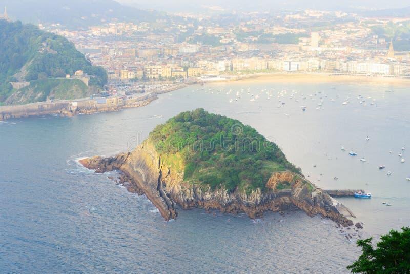 San Sebastian, Pais Vasco, Spain. San Sebastian aerial view and island of Santa Clara, Pais Vasco, Spain stock photo