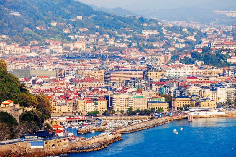 San Sebastian antennpanoramautsikt fotografering för bildbyråer
