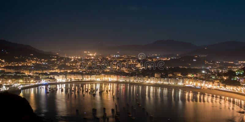 San Sebastian beach at night. Night on San Sebastian bay royalty free stock photo