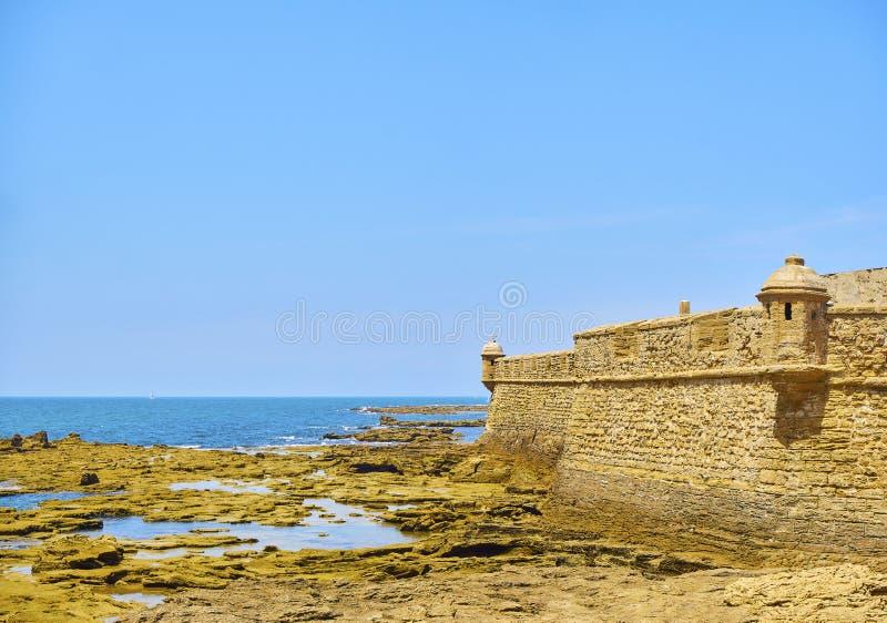 San Sebastian Castle, a fortress in La Caleta island. Cadiz, Spain. San Sebastian Castle, the ancient Phoenician Temple to Moloch / Kronos. View from Paseo royalty free stock image