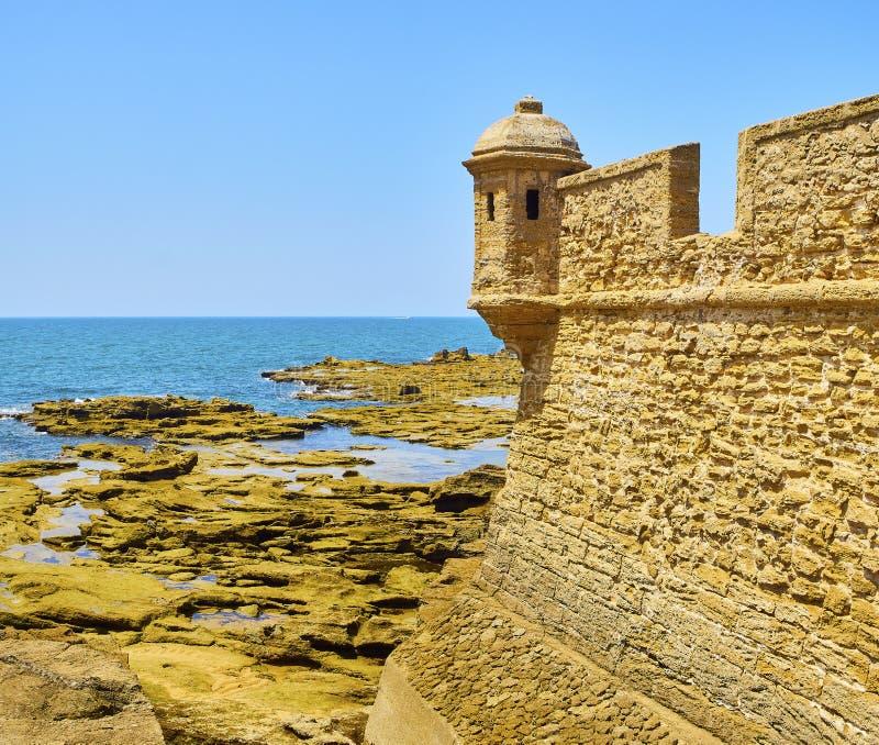 San Sebastian Castle, una fortezza nell'isola di Caleta della La Cadice, Spagna fotografia stock libera da diritti