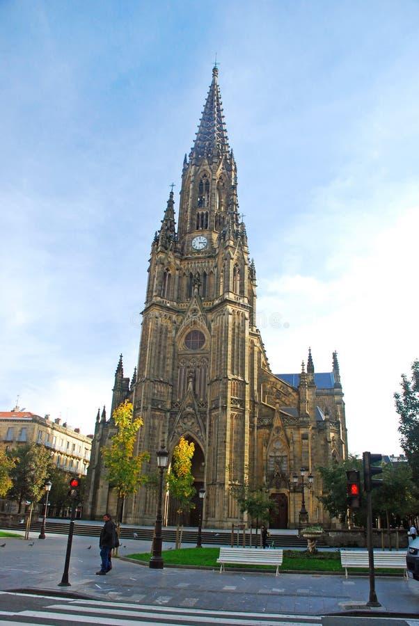 San Sebastian Cathedral, Spanien royaltyfria foton