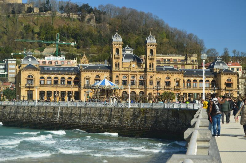 San Sebastian City Hall Located Downtown In A Beautiful And Sunny Day With Strong Wind Storms Caused By Hurricane Hugo. Architectu. Re Travel Landscapes. March stock image
