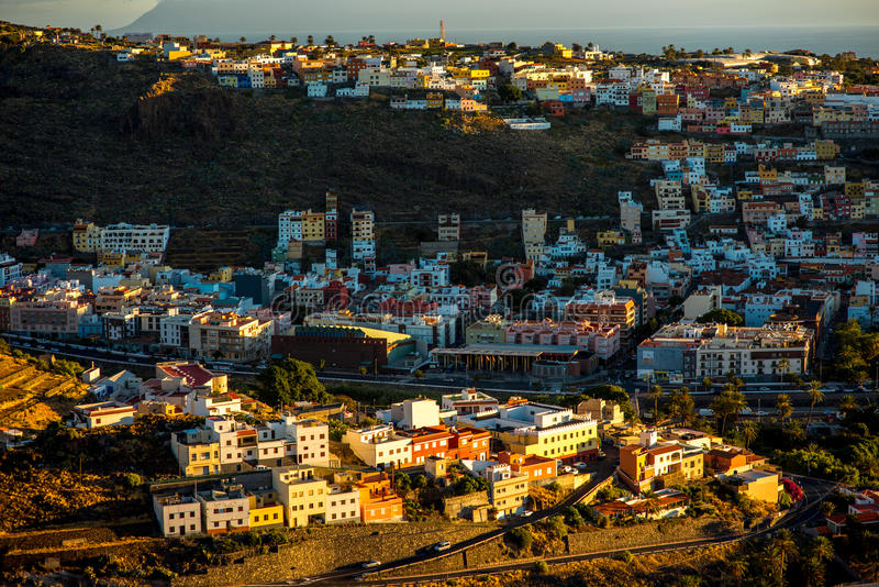 San Sebastian city. San Sebastian, La Gomera island, Spain - January 08, 2016: City scape view on the old houses in San Sebastian port city on La Gomera island stock image