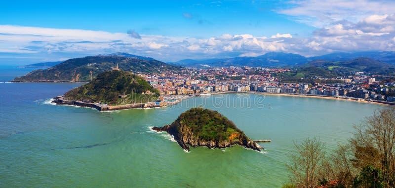 San Sebastian city, Spain, view of La Concha bay and Atlantic ocean. San Sebastian - Donostia city, Basque country, Spain, panoramic view of La Concha bay stock photos