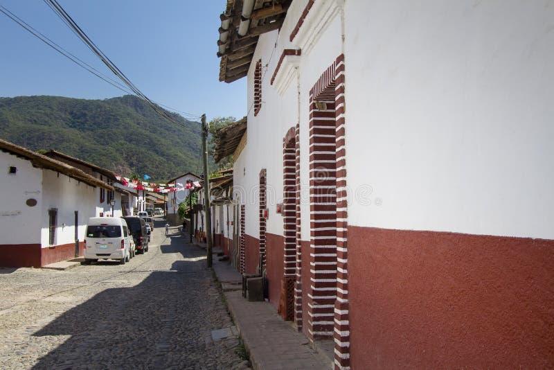 San Sebastian del Oeste Cobblestoned Streets in Jalisco Messico fotografie stock libere da diritti