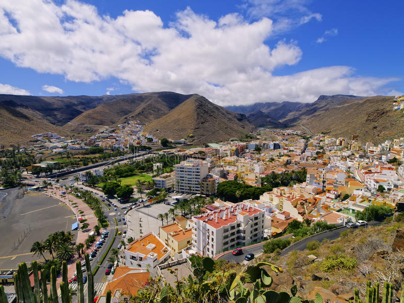 San Sebastian on Gomera. San Sebastian de la Gomera - capital city of Gomera island, Canary Islands, Spain stock images