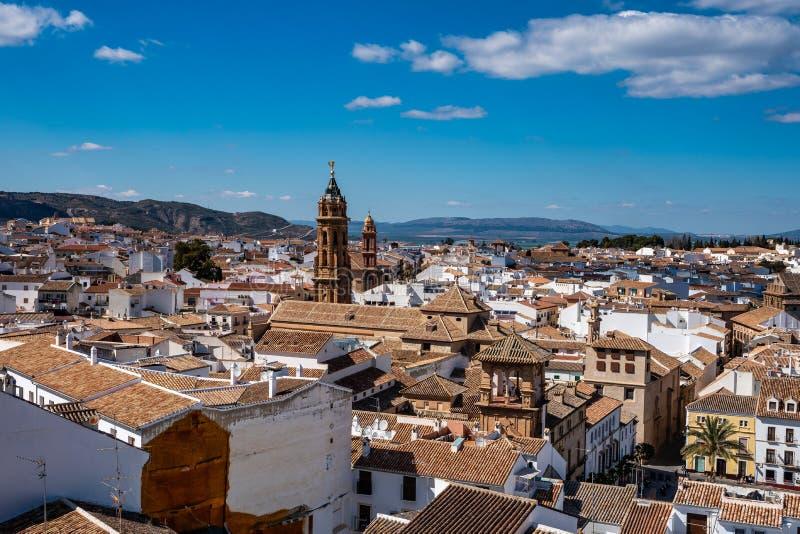 San Sebastian ko?cielny wierza w Antequera, Malaga prowincja, Andalusia, Hiszpania obrazy royalty free
