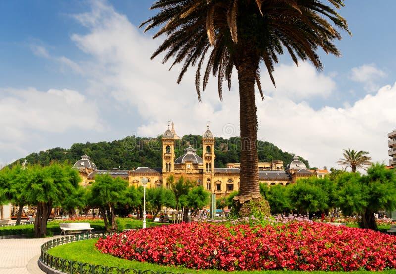 San Sebastian, Pais Vasco, Spain. View of downtown of San Sebastian with city hall, Pais Vasco, Spain royalty free stock photo