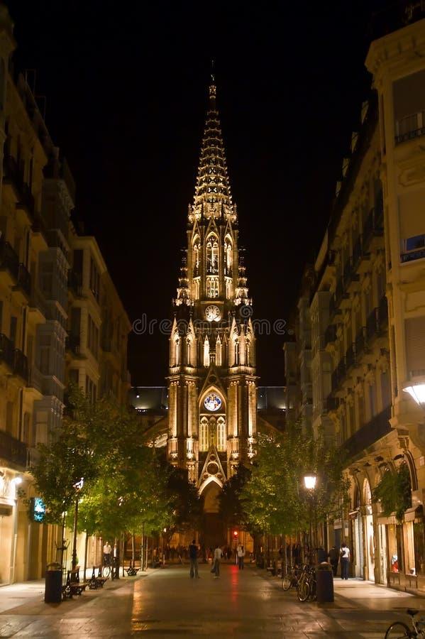 San Sebastian par Night image stock