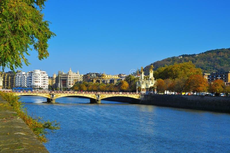 San Sebastian, Spain. View of Maria Cristina Bridge and Urumea River in San Sebastian, Spain, in autumn stock images