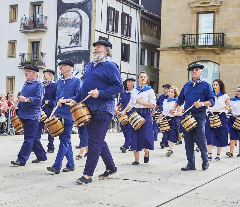 Citizens drumming in Tamborrada of San Sebastian. Basque Country, Spain. San Sebastian, Spain - August 31, 2017. Citizens drumming in Tamborrada, the drum stock photos