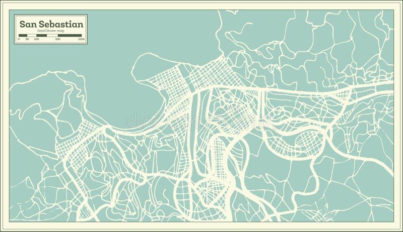San Sebastian Spain City Map im Retrostil Antilocapra Americana vektor abbildung