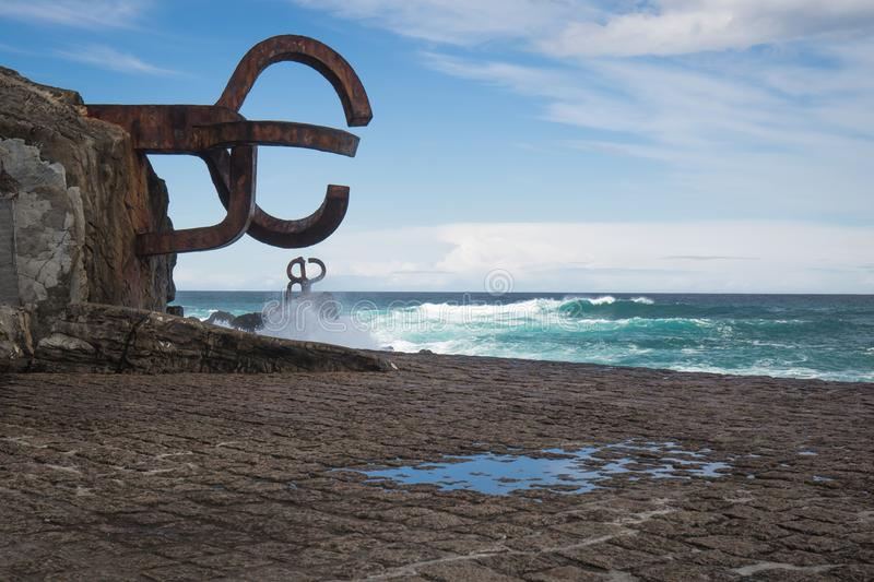 San Sebastian, Spain - March 16, 2018: scenic The comb of the wind / Peine del viento sculptures by Eduardo Chillida royalty free stock images