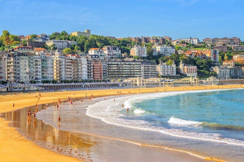 San Sebastian, Spain. Sand beach in San Sebastian, Spain stock photos