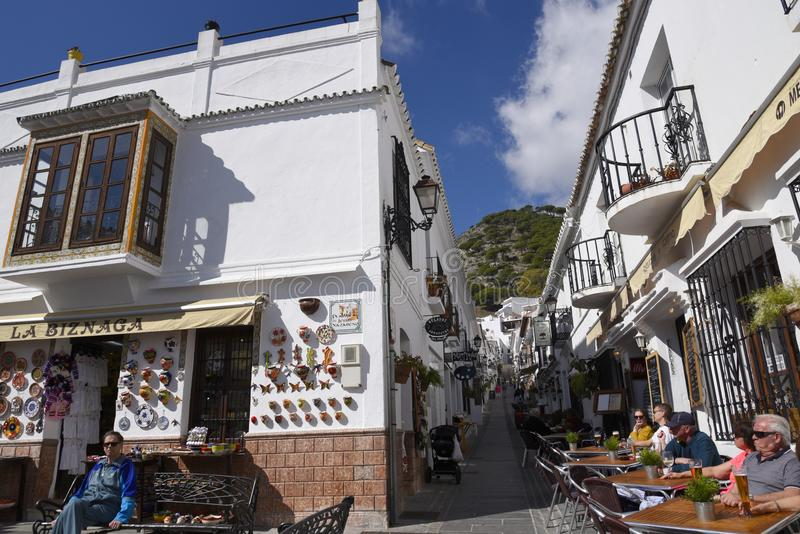 San Sebastian Street In Mijas in the Mountains above the Costa del Sol in Spain. Mijas is one of the most beautiful `white` villages of the Southern Spain area royalty free stock image