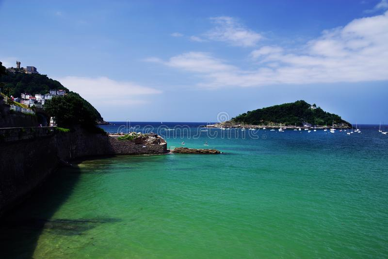 San Sebastian, view of La Concha Bay in the daytime, Spain. San Sebastian or Donostia is a coastal city and municipality located on the southern coast of the Bay royalty free stock photo