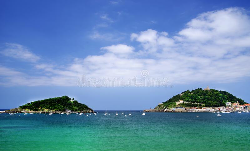 San Sebastian, view of La Concha Bay in the daytime, Spain. San Sebastian or Donostia is a coastal city and municipality located on the southern coast of the Bay royalty free stock image