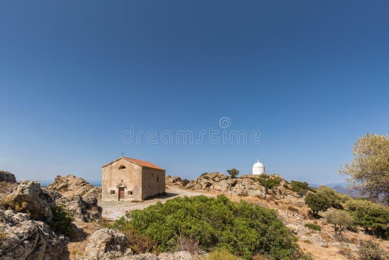 San Sebastiano Chapel nära Palasca i Korsika royaltyfri fotografi