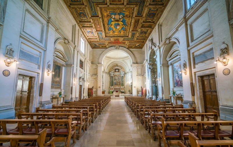Indoor view in the Basilica of San Sebastiano Fuori Le Mura, in Rome, Italy. San Sebastiano fuori le mura Saint Sebastian outside the walls, or San Sebastiano stock image