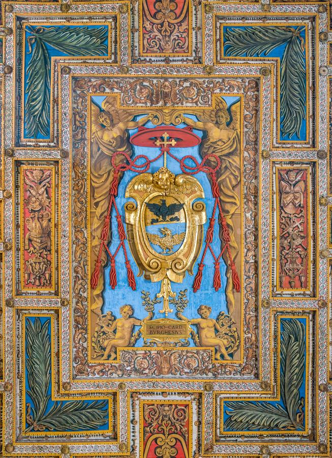 Coat of arms of Cardinal Scipione Borghese in the ceiling of the Basilica of San Sebastiano Fuori Le Mura, in Rome, Italy. San Sebastiano fuori le mura Saint stock images