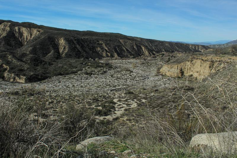 San seco Jacinto Riverbed, San Bernardino National Forest, el condado de Riverside, California fotos de archivo libres de regalías