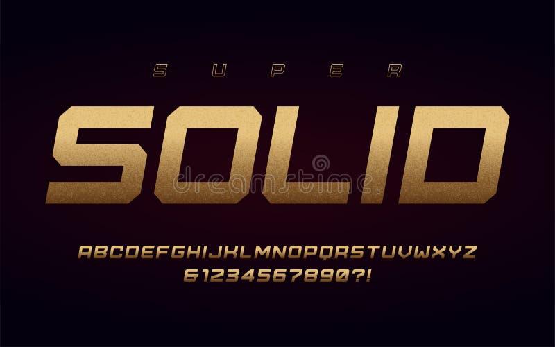 San serif uppercase listy i liczby, abecadło z skutkiem złocista folia ilustracja wektor