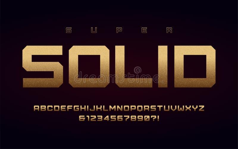San-Serifversalienbuchstaben und Zahlen, Alphabet mit Effekt der Goldfolie vektor abbildung